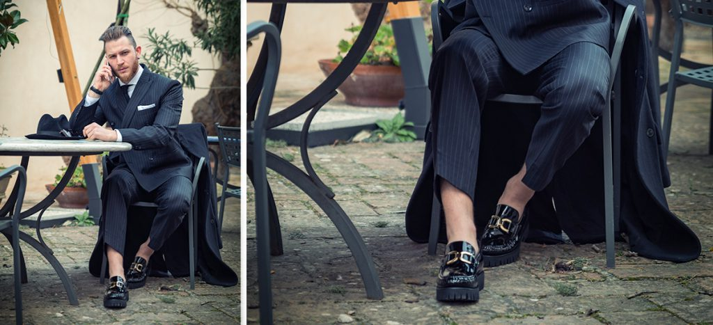businessman wearing black patent tassel loafers - Guidomaggi Switzerland
