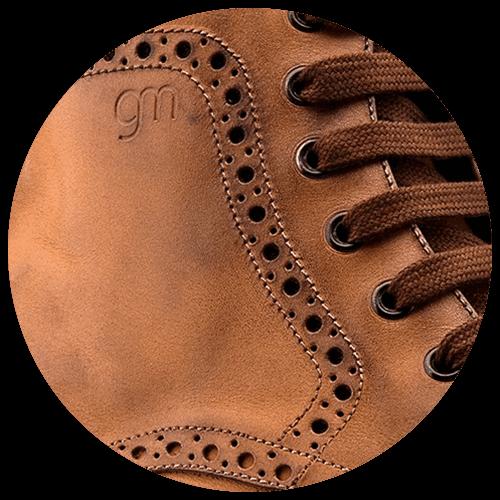detail brown leather brogue shoe - Guidomaggi Switzerland